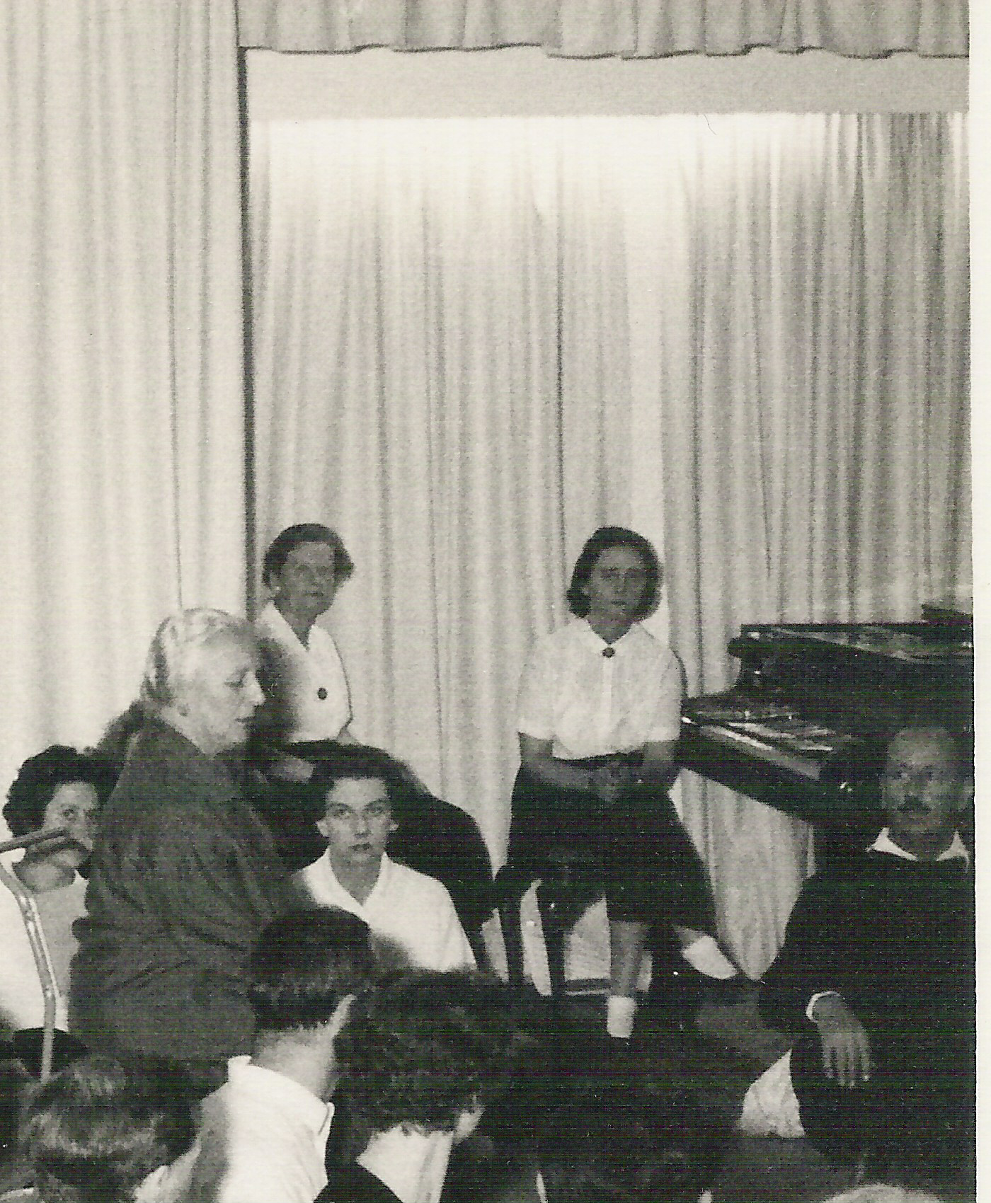 photo: Jeanne de Salzmann sitting left with Helen Adie at the piano, London  to enlarge click on image